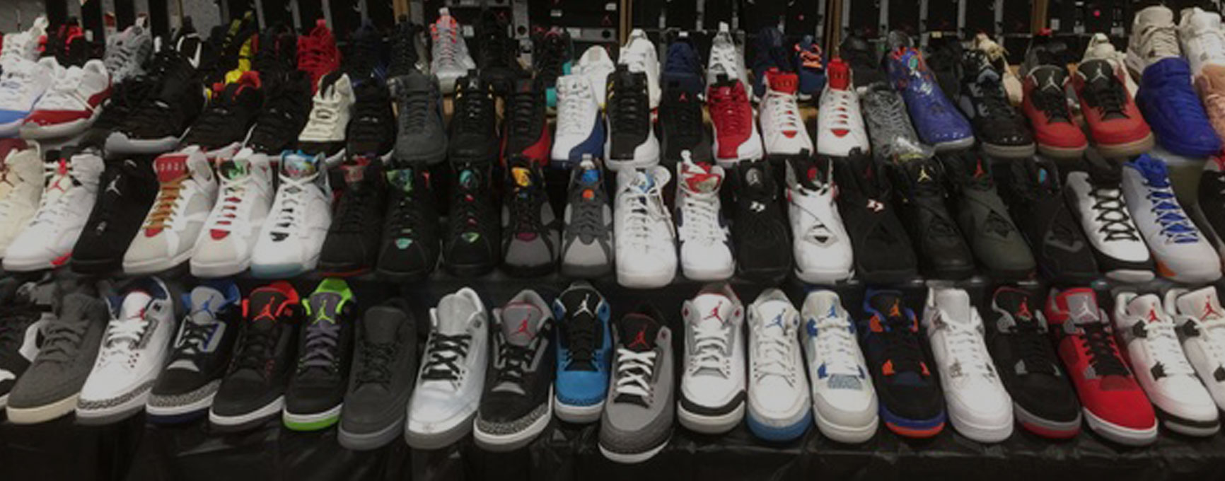 Sixty plus Air Jordan retros containing over six different Jordan silhouettes